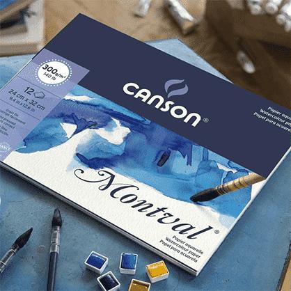 Skicár maľbu akvarelovými anilínovými farbami pastelkami Canson Montval Abc-CreativeArt