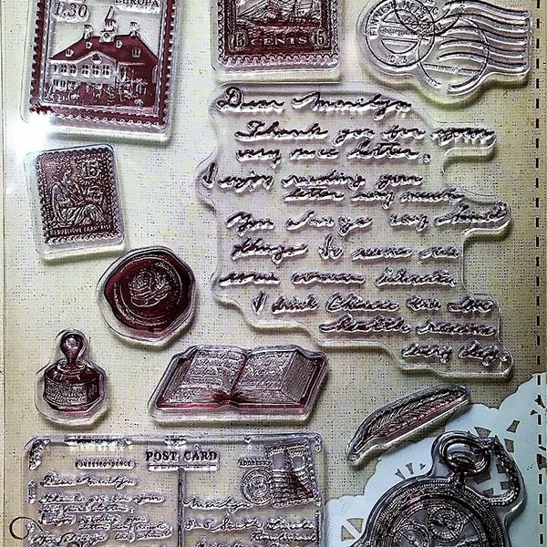 Silikónová pečiatka - Cestovanie, kompas, pohľadnice, poštová známka