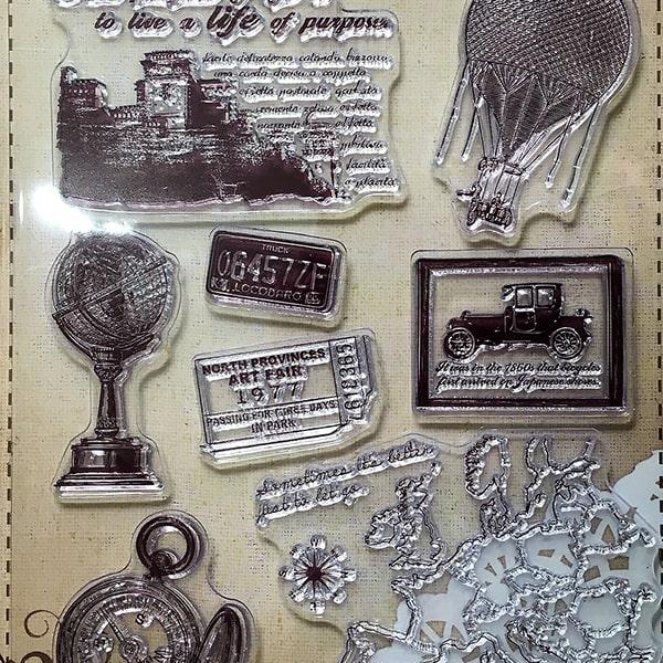 Silikónová pečiatka - Cestovanie, mapa, balón, glóbus...