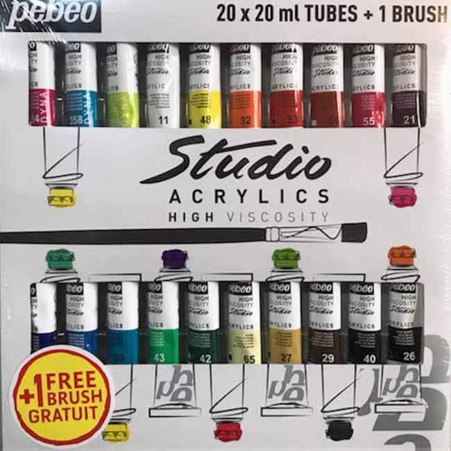 Abc-Creative Art Pebeo Studio Acrylics súprava 20 kusov-min